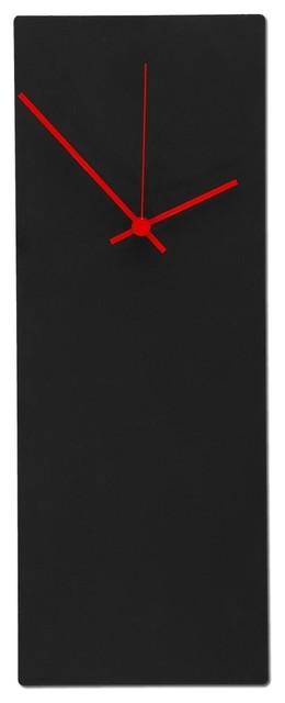 Blackout Red Clock Modern Metal Wall Minimalist Black