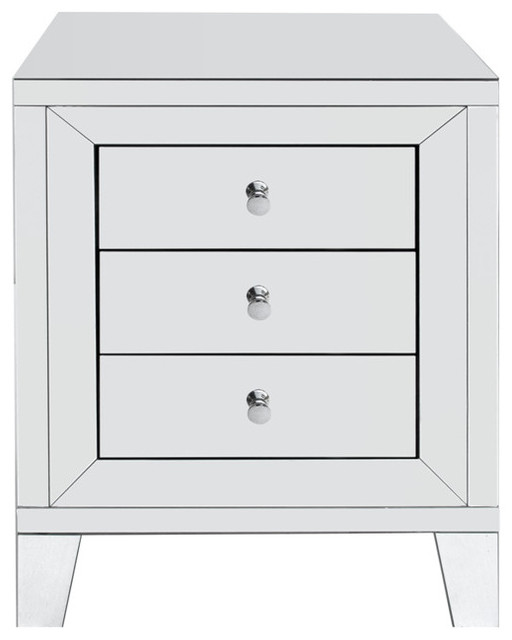 Eltham 3-Drawer Mirrored Side Table.