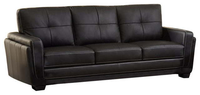 Leatherette 3 Seater Comfy Sofa, Black.