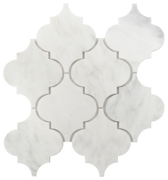"Interlocking Polished Tile, Carrara White Arabesque, 30 Sq. Ft., 12""x12""."