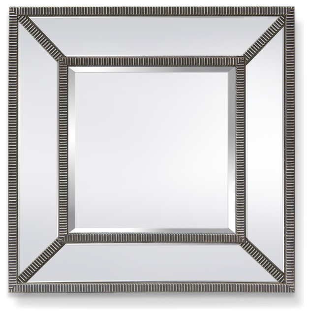 Garber Corp Harmony Mirror Glass And Silver Stripe