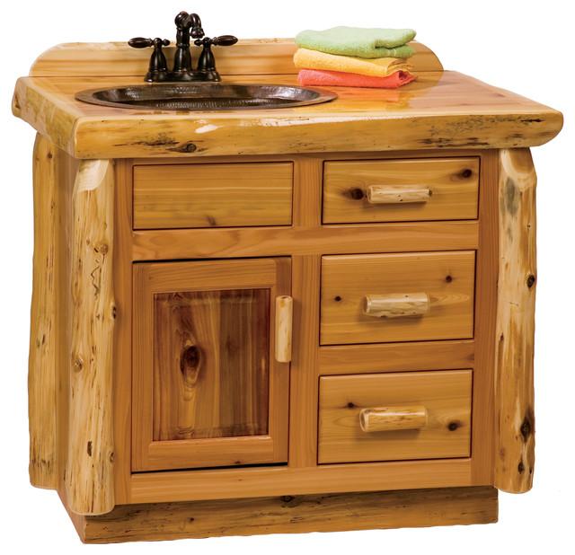 cedar vanity, 3' - rustic - bathroom vanities and sink consoles