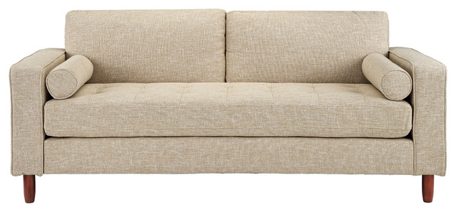 Modern Contemporary Linen 3 Seat Sofa With Bolster Pillows Beige