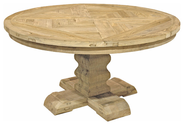 High Quality Romand French Country Reclaimed Elm Parquet Round Dining Table