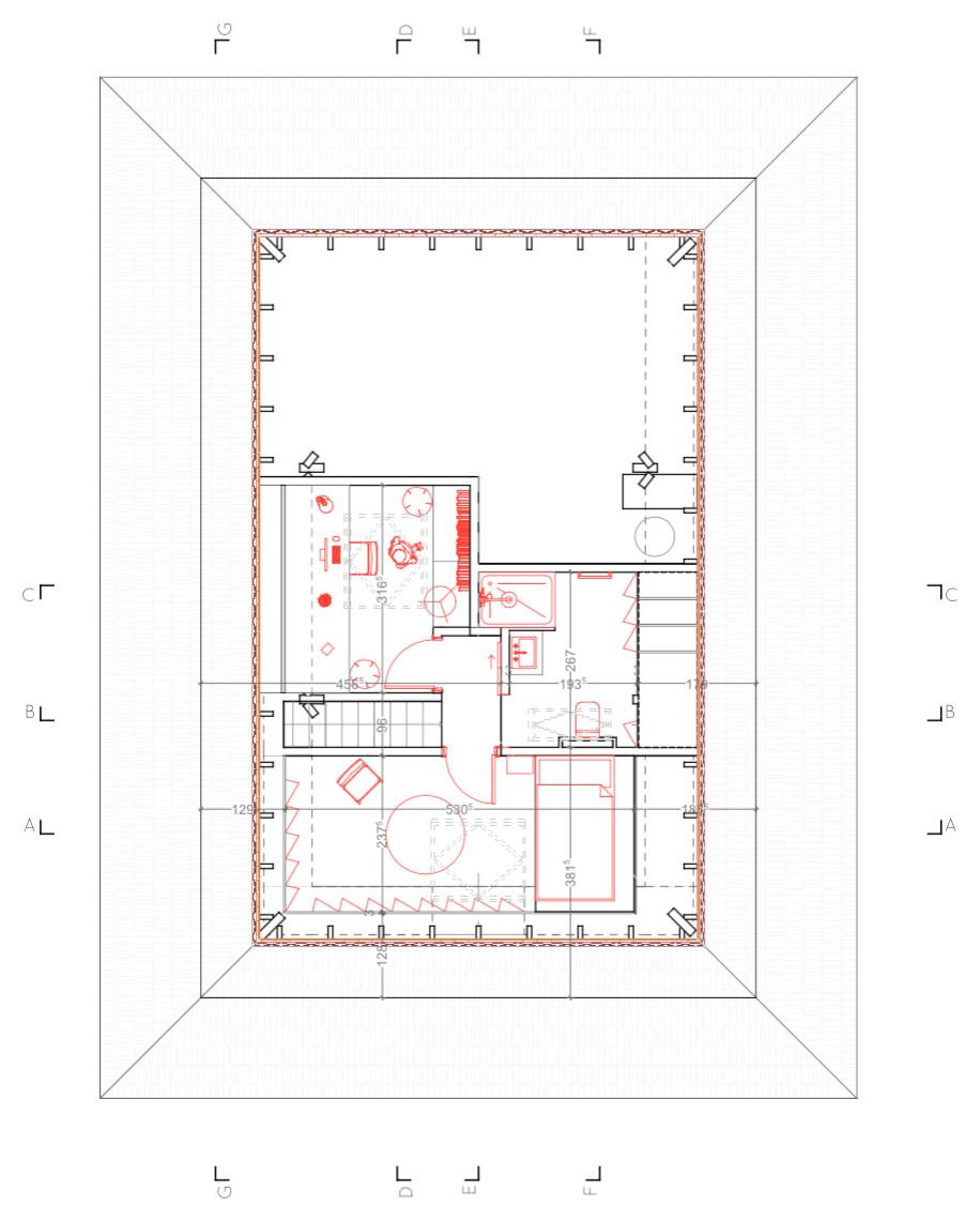 Aménagement des combles d'une maison de plein pied, option 1 plan