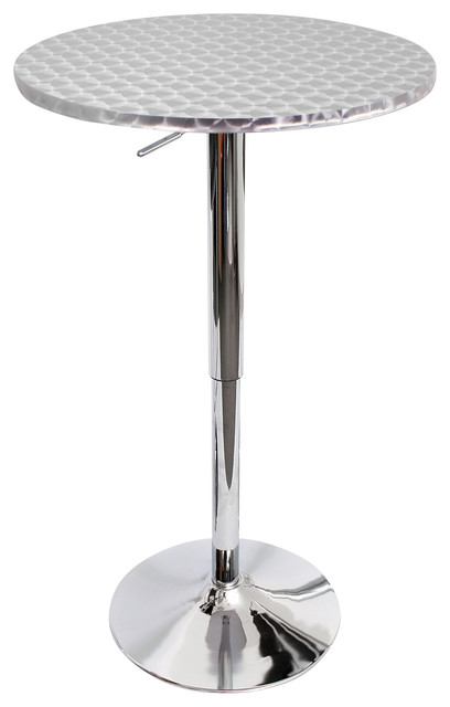 Bistro Height Adjustable Bar Contemporary Table, Silver.