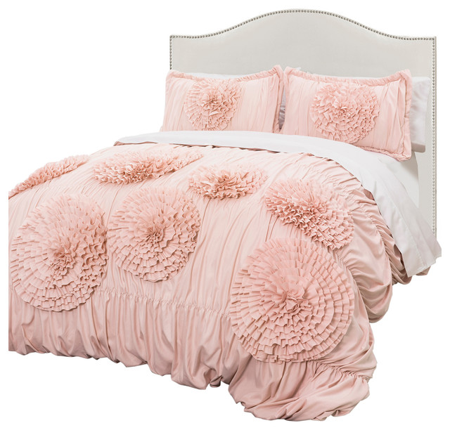 Serena Pink Blush 3 Piece Comforter Set Comforters And