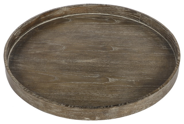 Round Tray Brown Rustic Serving Trays By Fantastic