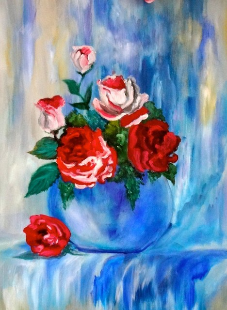 Red Rose Bouquet Original Wall Art By Jenny Lee Jonah