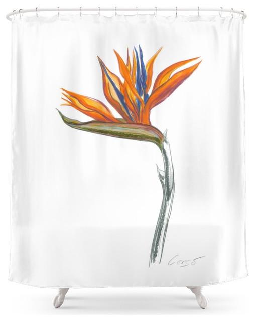 Society6 Bird Of Paradise 01 Botanical Flower Shower Curtain Contemporary Shower Curtains