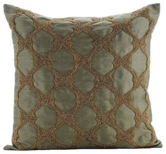 """Tarnished Gold, Green Art Silk 16""""x16"""" Pillow Covers."""