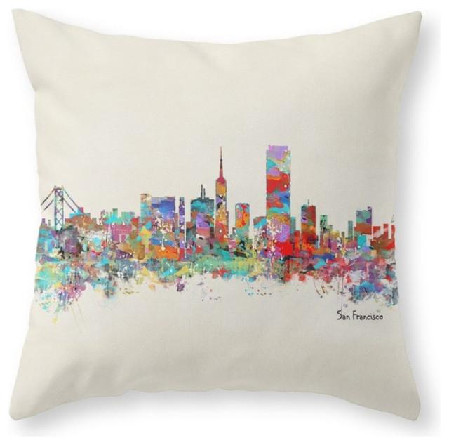 Decorative Pillows San Francisco : San Francisco Skyline Throw Pillow - Contemporary - Decorative Pillows - by Society6