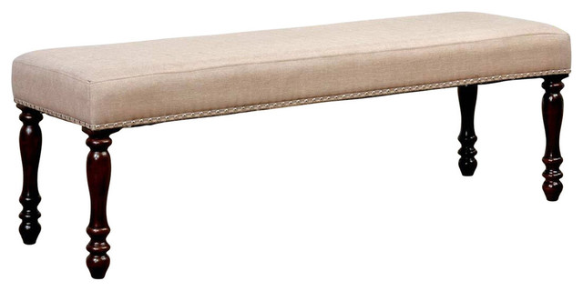 Wooden Bench With Padded Fabric Seat, Cherry Brown.