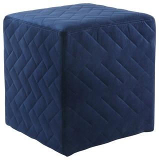 Mason Velvet Brick Quilted Cube Ottoman, Navy