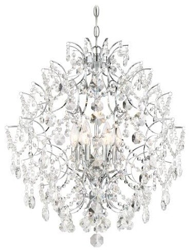 6 Light Chandelier in Chrome with Clear Crystal Strings M glass