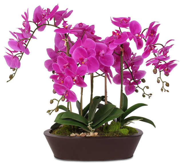 4314c242a4b Real Touch Beauty Purple Phalaenopsis Orchids In A Sleek, Oval Metal Planter