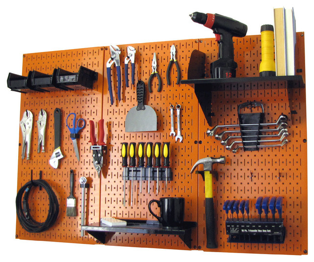 Pegboard Organizer Tool Storage Kit, Orange Toolboard and Black Accessories - Contemporary ...