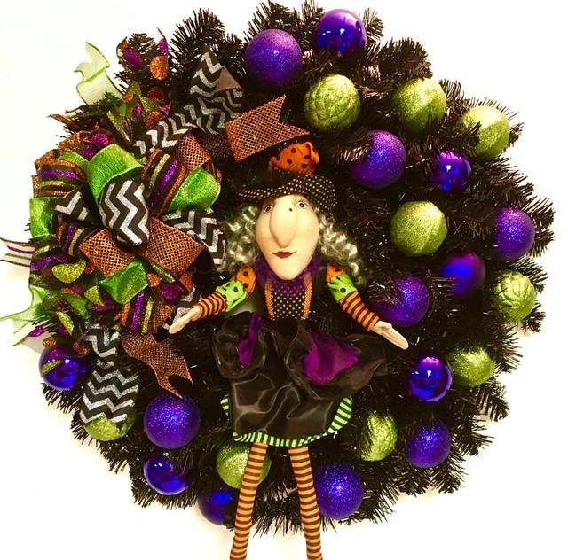 Halloween Witch Fall Wreath Door Decor Shatterproof Ornaments Indoor Outdoor.