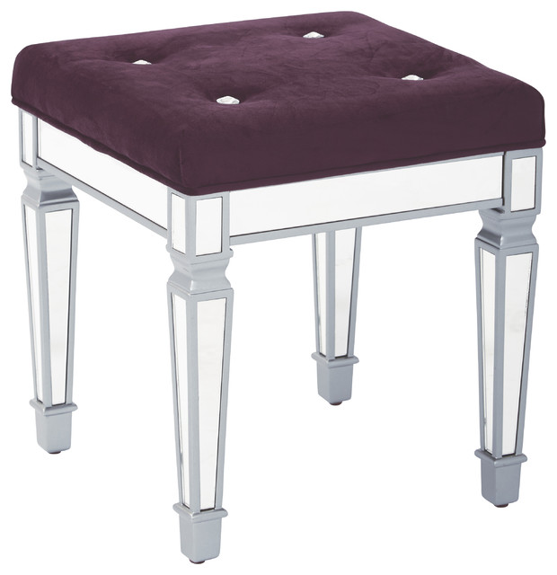 Reflections 18 Mirror Framed Stool With Padded Velvet Top Traditional Vanity Stools And Benches By Office Star Products
