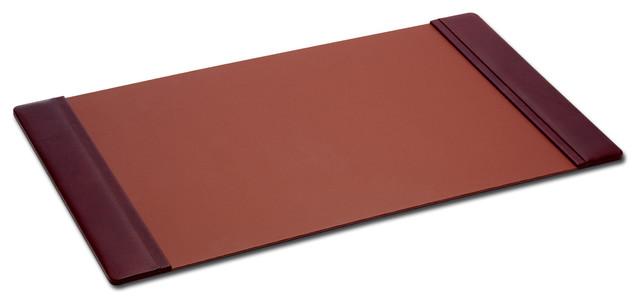 "Leather Side-Rail Desk Pad, Mocha, 38""x24""."