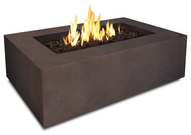 Baltic Natural Gas Rectangle Fire Pit Table In Kodiak Brown