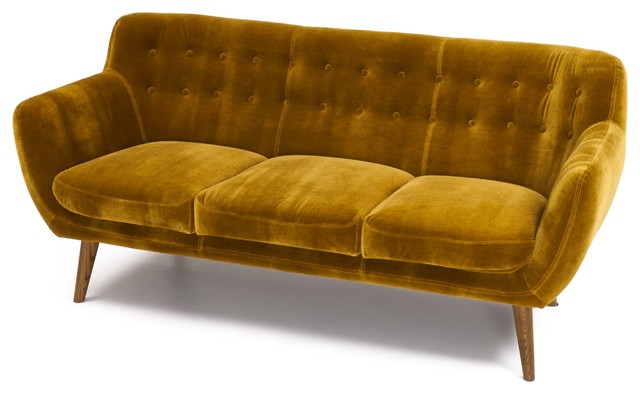 Rhodes Mid-Century Modern Tufted Sofa, Antique Gold