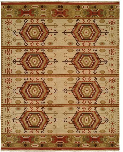 Soumak Flatweave Hand-Knotted Rug, Earth Tones, 4'x6'