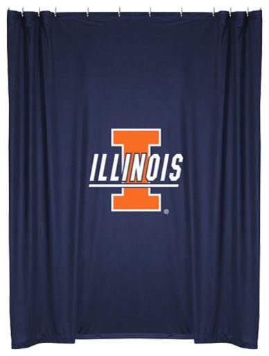 NCAA Illinois Illini College Bathroom Accent Shower Curtain