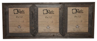 "Crockett Reclaimed Rustic Barn Wood Triple Photo Frame, 8""x10"""