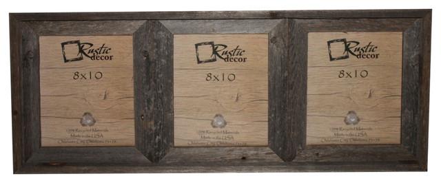 Crockett Reclaimed Rustic Barn Wood Triple Photo Frame, 8x10.