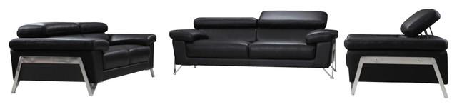 Encore Black Top Grain Italian Leather Sofa Set With Adjustable Headrests.