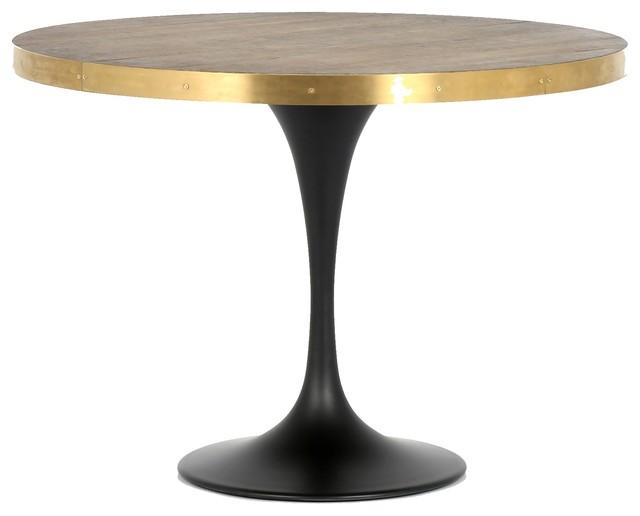 Evans Industrial Oak Wood Tulip Round Bistro Table 42 Industrial Indoor Pub And Bistro Tables By Zin Home