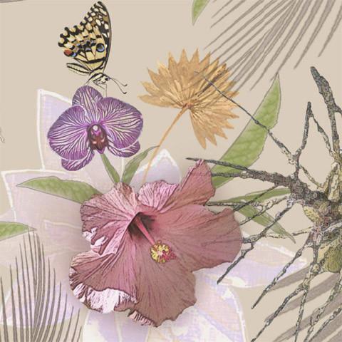 Flor De Jamaica Shelf Paper Drawer Liner, 120x12, Laminated Vinyl.
