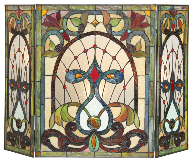Ruby Tiffany-Glass 3-Piece Folding Victorian Fireplace Screen.