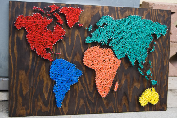 Nail Wall Art World Map, Primary Pleasures Palette by Etsybybetsy