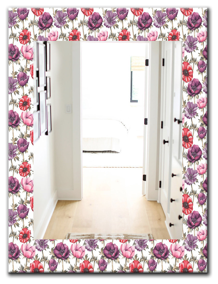 Designart Purple Bloom 2 Traditional Frameless Bathroom Mirror Contemporary Bathroom Mirrors By Design Art Usa
