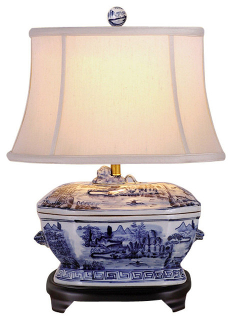 Blue and White Porcelain Landscape Tureen Table Lamp 21""