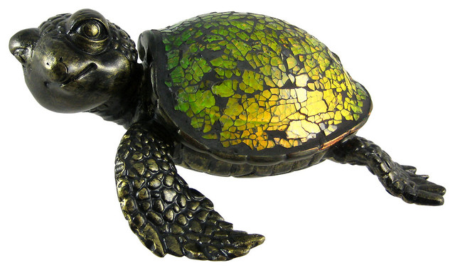 Cute Mosaic Green Glass Sea Turtle Accent Lamp Crush