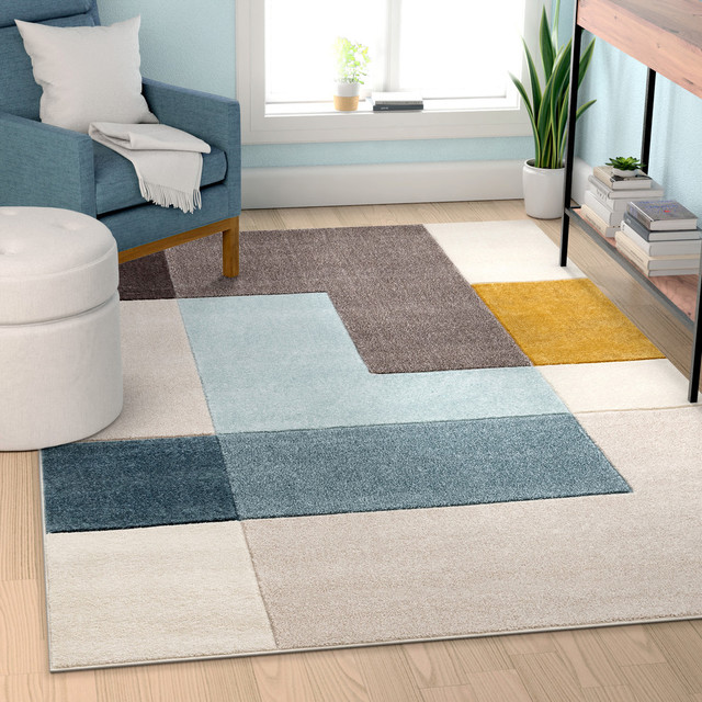 Well Woven Ruby Constance Midcentury Modern Geometric Squares Multi Area Rug Contemporary Area Rugs By Well Woven