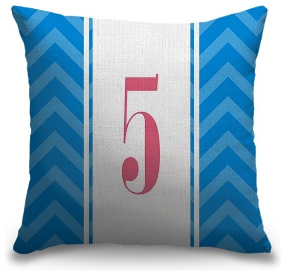 """""""Number Five - Vertical Stripes"""" Pillow 16""""x16"""""""