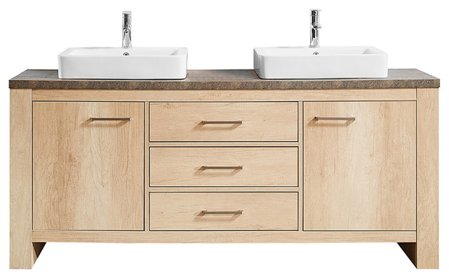 "Alpine Vanity With Porcelain Sink, Canyon Oak, Double Sink, No Mirror, 72""."