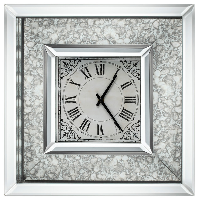 astrid wall clock with mirrored frame farmhouse wall clocks - Mirrored Picture Frame