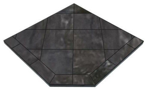 Ny Hearth Navajo Nero 54x54 Tile Hearth Pad, Corner.