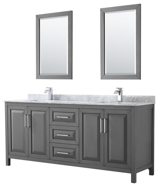 "Daria 80"" Double Vanity, Dark Gray, White Carrara Marble Top, Square Sinks."