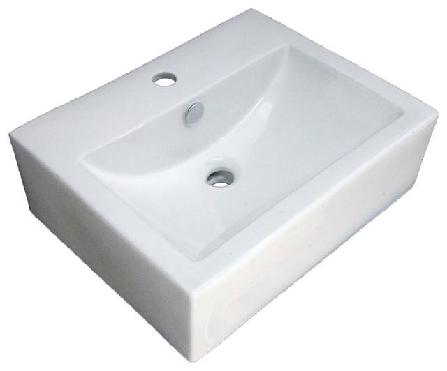 Vanity Fantasies Box Porcelain Rectangular Vessel Sink, White.