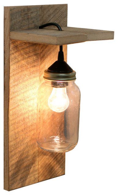 Barn Wood Mason Jar Light Fixture Without Rope Detail
