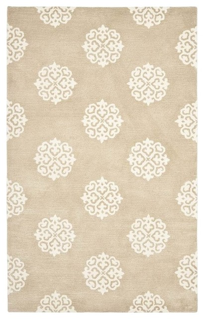 Area Rug, Beige and Ivory, 9'x6'