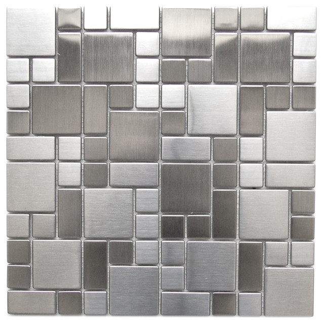 Kitchen Tiles Samples modern cobble pattern stainless steel mosaic tile - contemporary