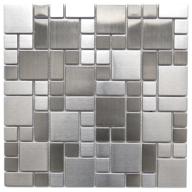 11 8 X11 Modern Cobble Pattern Stainless Steel Mosaic Tile Single Sheet