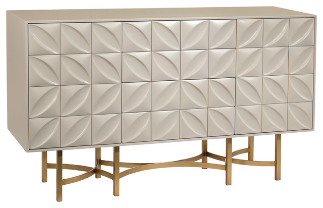 Credenza Contemporary : Modern classic ghost white petal bronze metal base credenza